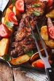 BBQ pork, potatoes and tomatoes on a grill pan. vertical top vie Royalty Free Stock Photos