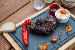 BBQ pork ribs with Coleslaw salad and BBQ sauce ribs royalty free stock photography