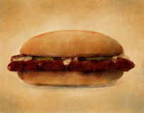 BBQ Pork Sandwich - Digital Painting. Digital watercolor painting of a barbeque pork sandwich stock illustration