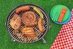 BBQ Portable Grill With Assorted Meat And Picnic Red Blanket Royalty Free Stock Photo