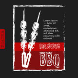BBQ poster stylized like sketch drawing on the Royalty Free Stock Photos