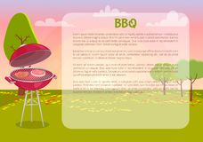 BBQ Poster with Text Nature Vector Illustration. BBQ poster with text and nature vector. Grille grid with roasting meat, beef and pork grilling. Autumn leaves on vector illustration