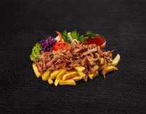 Bbq pulled pork with french fries royalty free stock images