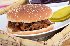 BBQ pulled pork sandwich Stock Photos