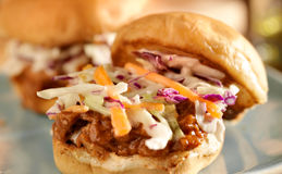 Bbq pulled pork sandwich sliders stock photography