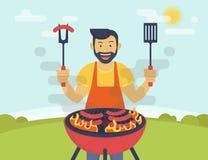 Bbq que cocina el partido Foto de archivo libre de regalías