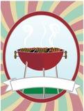 Bbq que cocina las hamburguesas de los perritos calientes Imagenes de archivo