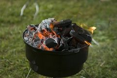 Bbq. A ready lit bbq fire Stock Image