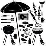 BBQ reeks. De Pictogrammen van de barbecuegrill Stock Afbeelding