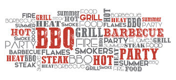 BBQ related word cloud vector. BBQ related word cloud orange and grey vector one layer eps.10 Royalty Free Stock Image