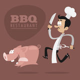 BBQ Restaurants concept chef runs pig. Illustration, BBQ Restaurants concept chef runs pig, format EPS 8 Royalty Free Stock Images
