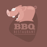 BBQ Restaurants emblem pig Royalty Free Stock Photography