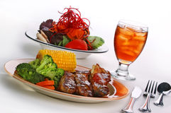 BBQ ribs, corn & vegtable meal Stock Images