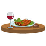 BBQ ribs and a glass of wine. Barbecue ribs and a glass of red wine Royalty Free Stock Image