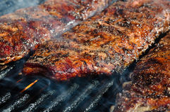 BBQ Ribs on the Grill Royalty Free Stock Photos