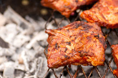 BBQ Ribs on grill with charcoal Stock Photo
