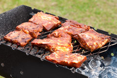 BBQ Ribs on grill with charcoal Stock Image