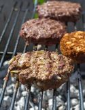 Bbq-Rindfleisch und Veggie-Burger Lizenzfreie Stockbilder