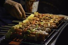BBQ roosterde vlees met groenten en tomatensausen op het staaltraliewerk met de hitte stock afbeelding