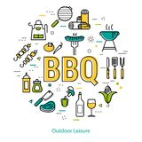 BBQ - round linear concept Stock Photo