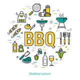 BBQ - round linear concept Stock Image