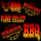 BBQ Rubber Stamp. Flame grilled and BBQ rubber stamp illustrations vector illustration