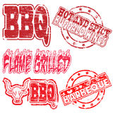BBQ Rubber Stamps. Flame grilled and BBQ rubber stamp vector illustrations stock illustration