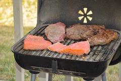 BBQ, salmões deliciosos e carne fotografia de stock royalty free