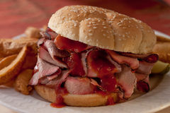 BBQ Sandwich with sauce Stock Image