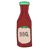 BBQ sauce bottle. Hand drawn barbeque dressing. Vector sketch royalty free illustration