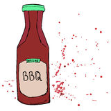 BBQ sauce bottle with splashes and stains. Hand drawn barbeque d. Ressing. Vector sketch royalty free illustration
