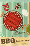 BBQ. Sausage Barbecue, Grill on Wooden Rustic Background. Vector Illustration royalty free illustration