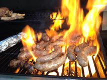 BBQ sausage food barbecue meat royalty free stock photo