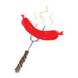 BBQ Sausage Fork. A  icon of a red sausage on a BBQ fork Stock Photography