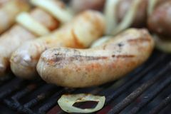 BBQ sausage with onion Royalty Free Stock Image