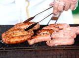 BBQ sausages on the grill Stock Photos