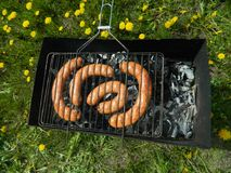 BBQ. Sausages picnic summer food Royalty Free Stock Image