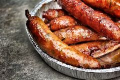 BBQ sausages royalty free stock photography