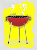 BBQ scribble sketchy retro ad style Royalty Free Stock Photo