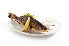 BBQ Sea Bass. Grilled Foods - BBQ Sea Bass Fish with Lemon and Mixed Salad royalty free stock photography