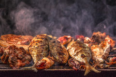 Bbq sea food and pork Stock Photo
