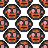 BBQ seamless pattern design with meat - food background barbecue pattern, vector illustration Stock Photos