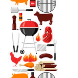 Bbq seamless pattern with grill objects and icons.  Stock Photography
