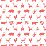 BBQ seamless pattern, vector illustration with barbecue grill elements Stock Photography
