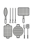 Bbq set of barbecue grill Royalty Free Stock Images