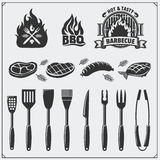 BBQ set. Steak icons, BBQ tools and labels and emblems. Vector monochrome illustration. Black and white Royalty Free Stock Photography