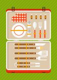 Bbq set of tools for bbq in suitcase Royalty Free Stock Image