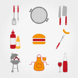 BBQ set. Set of web icon BBQ. Vector illustration on a white background. Flat design style Royalty Free Stock Photography