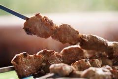 Bbq shashlik pork meat outdoor food Stock Photography
