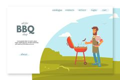 BBQ shop flat landing page vector color template royalty free illustration